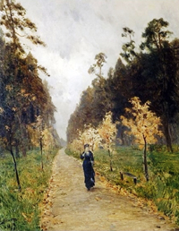 """Autumn Day. Sokolniki"" (1879). Nikolai Chekhov added the woman to Levitan's painting."