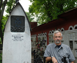 At Chekhov's grave in Novodevichy Cemetery, Moscow. July 2013