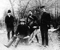 Levitan took this photograph at Melikhovo of Chekhov and his brother Mikhail sitting in a wheelbarrow pushed by Vladimir Gilyarovsky. (Easter 1892)