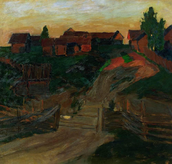"""The Last Rays of the Sun"" (1899). As I stood in the Tretyakov Gallery looking at this painting, with its flat planes of muted colors moving towards abstraction, I found myself wondering what direction Levitan's art would have taken had he lived another 20 years. He died in 1900 at the age of 39."