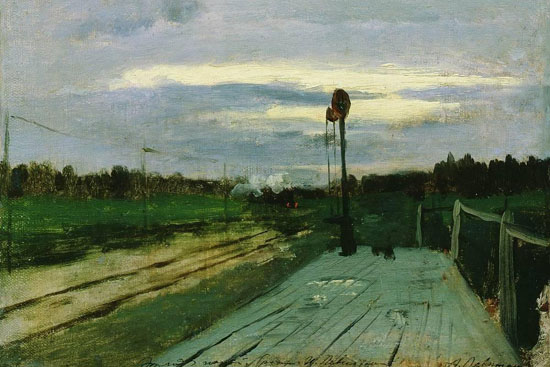 """Railway Stop"" (1885), one of five stolen Levitan paintings that have been recovered."